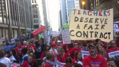 Striking teachers march in Chicago.
