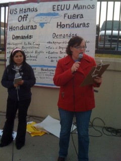Meredith Aby of the Anti-War Committee speaks at Hands of Honduras rally