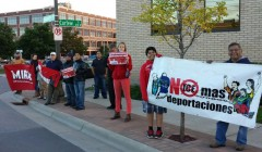 Immigrant rights activists protest at MN Senator Franken's campaign office