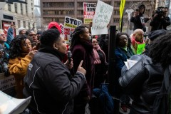 Jeanette Taylor at protest against FOP's racist demonstration.