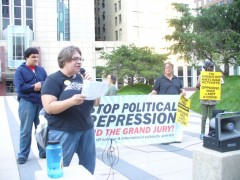 Jess Sundin speaking at Sept. 24 protest against FBI repression.
