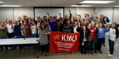 Twin Cites trade unionists at KMU solidarity event.