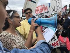 Richa Nagar speaking at the rally.