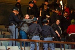 Workers protest in Wisconsin State Assembly chambers.