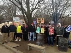 Striking Kohler workers on picket line Dec. 12.