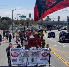 Members of Les Malinches leading Los Angeles march on Whittier Blvd.