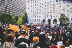 Protest against police crimes at LA Hall of Justice.