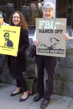 """Protestors in front of LA courthouse demand """"drop the charges against Carlos"""""""