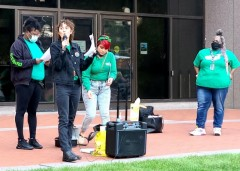 Ali Fuhrman, president of AFSCME Local 2822 speaking at a contract rally.