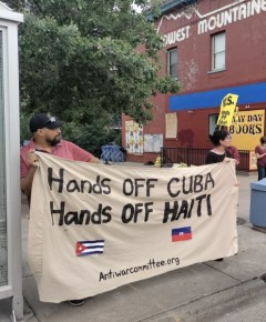 Twin Cities action in solidarity with the people of Cuba and Haiti.