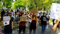 Protest organized by Minnesota Workers United demands justice for George Floyd.