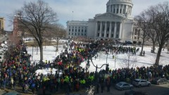 Thousands rally in Madison, Feb. 24, against anti union 'right to work' legisl