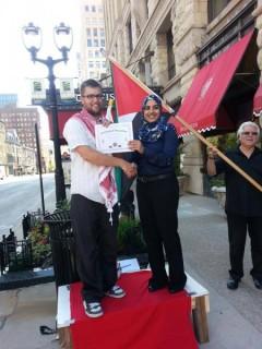 Milwaukee protest outside the Israel Bonds Awards Dinner.