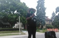 MATU member Jacquee Clark speaks outside mayor Tom Barrett's house.