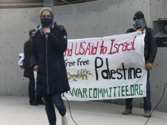 Mariam El-Khatib of American Muslims for Palestine speaking at Land Day event.