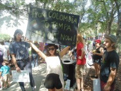 Marisol Marquez of Raices En Tampa demanding Monsanto out of Colombia