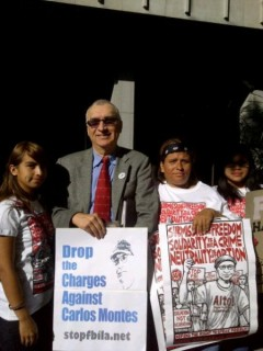 Carlos Montes with supporters outside Los Angeles Superior Court, before trial.