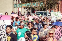 Protesters gathered for New Orleans' last Trans March of Resilience, Nov 2014.