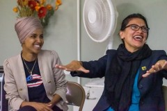 Rep. Ilhan Omar and Rep. Rashida Tlaib at a event in Minneapolis.
