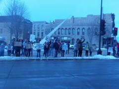 Oshkosh, WI protest one one year anniversary of Trump taking power.