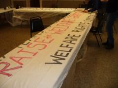 Banner for Jan. 8 protest