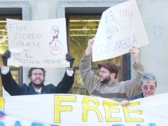 Protest at Washington DC courthouse following the conviction of  FARC leader Ric