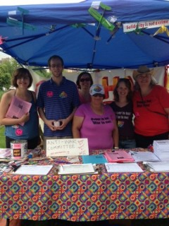 The Anti-War Committee booth at Pride.