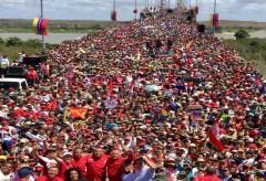 Supporters of President Nicolás Maduro rally.