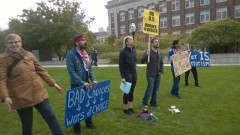 SDS members at Women Against Military Madness (WAMM) Oct. 10 protest.