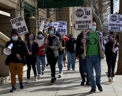 California protest demands 'Don't tax unemployment benefits'