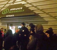 Supporters rally outside factory during takeover.