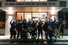 Trade unionists at the labor federation hall demand the National Guard get out.