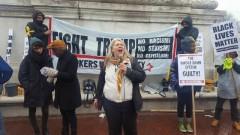 FRSO Political Secretary Steff Yorek speaking at Washington DC rally against Tru