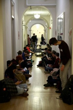 TAA mass occupation of Bascom Hall in Madison, WI.
