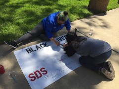 Students making signs for Black Lives Matter rally at Angelina College.