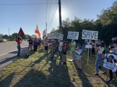 SDS protest to stop sale of USF nature preserve.