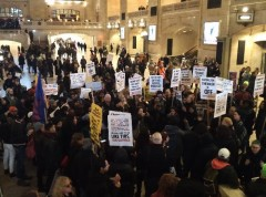 Anti-Trump in New York City's Grand Central Station on Jan. 20.