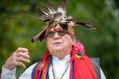 Dr. Mario Garza conducts a blessing at the Sacred Springs Powwow on October 19,