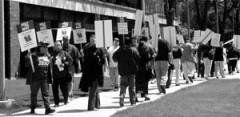 miembros del sindicato marchan
