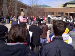 Photo ofMarch 14 protest at UWN.
