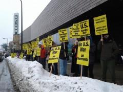 Minneapolis protest opposes U.S. war on Venezuela.