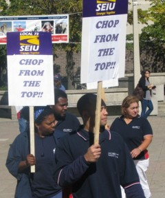 UIC workers march on October 7.