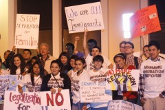 Students protest Congressman Dennis Ross for his attacks on Immigrants rights.