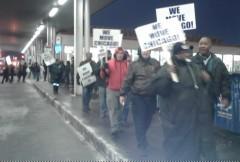 Members of ATU on picket line.