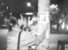 Postering at night