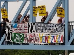 Protest against U.S. intervention in Venezuela.