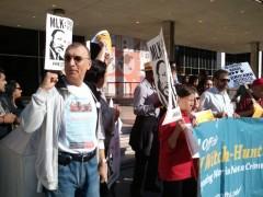 Carlos Montes at rally following FBI / LA sheriff raid on his home.