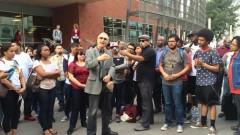 Veteran Chicano activist Carlos Montes speaking at protest for Ethnic Studies