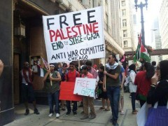 """Pro-Palestine demonstrators out number Zionists at rally to """"stand with"""" Israel."""
