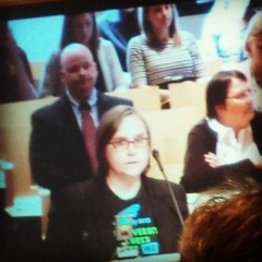 Cherrene Horazuk, president of AFSCME 3800 speaking to Board of Regents